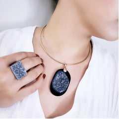 Conjunto Singular - pedra natural druza de Ágata Negra - colar e anel - 3