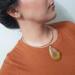 Conjunto Singular - pedra natural Jaspe Australiano - colar aro + brinco-5