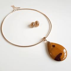 Conjunto Singular - pedra natural Jaspe Australiano - colar aro + brinco  - 3