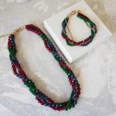 Conjunto torsade de pedras naturais - colar e pulseira