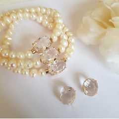 Pulseira bracelete com cristais e pérolas  + brinco