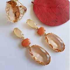 Conjunto cristais pêssego - brinco e anel