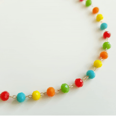 Colar duplo de cristais multicolor
