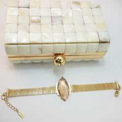 Pulseira bracelete - centro pedra navete- golden shades