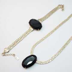 Pulseira bracelete - centro pedra oval - PRETO