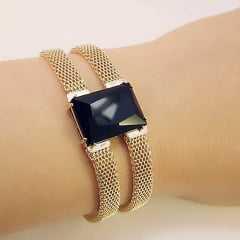 Pulseira bracelete - centro pedra retangular  2