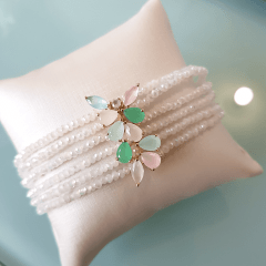 Pulseira bracelete com cristais multicolor