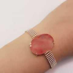 Pulseira com corrente malha fita e centro com cristal oval 18x25mm Cherry
