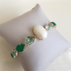 Pulseira de cristais multicolor e pérola mabe shell - Verde