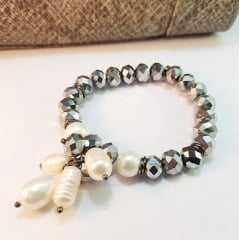 pulseira de cristais rondel e pérolas