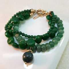 Pulseira de pedras naturais quartzo verde